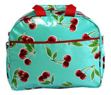 Oilcloth Carryall Bag - Turquoise Cherry