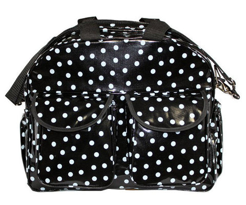 Oilcloth Carryall Bag - White on Black Polka