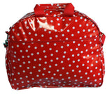 Oilcloth Carryall Bag - White on Red Polka