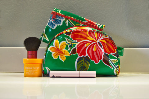 Green Hibiscus Oilcloth Bag Combination Set - Small & Pouch