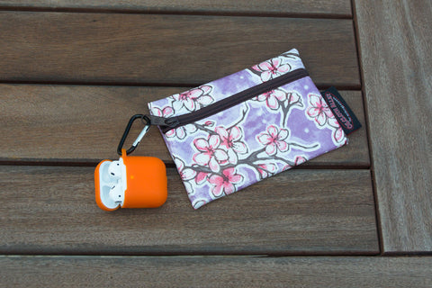 Small Oilcloth Lined Pouch - Purple Cherry Blossom