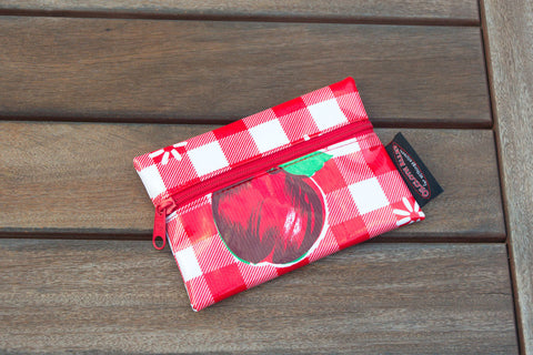 Small Oilcloth Lined Pouch - Red Cafe Check with Fruit
