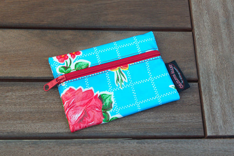 Small Oilcloth Lined Pouch - Blue Roses
