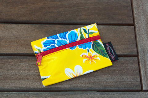 Small Oilcloth Lined Pouch - Yellow Hibiscus