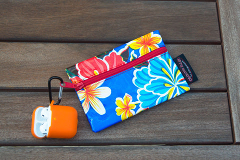 Small Oilcloth Lined Pouch - Blue Hibiscus