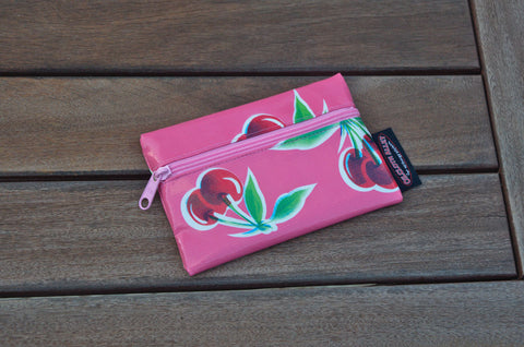 Small Oilcloth Lined Pouch - Pink Cherry