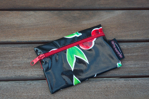 Small Oilcloth Lined Pouch - Black Cherry