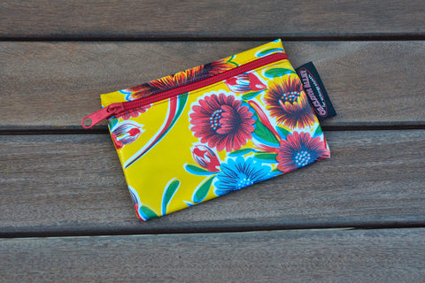 Small Oilcloth Lined Pouch - Yellow Mums