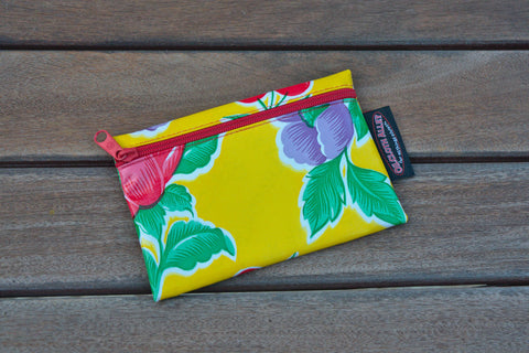 Small Oilcloth Lined Pouch - Yellow Poppy