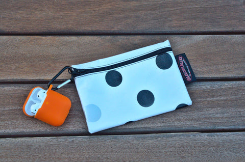 Small Oilcloth Lined Pouch - Silver and Black Confetti