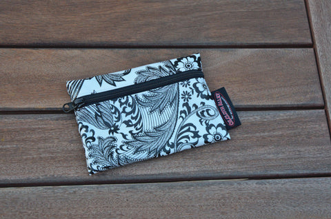 Small Oilcloth Lined Pouch -Black and White Toile