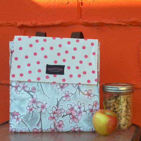 Oilcloth Insulated Lunch Bag - Silver Cherry Blossom