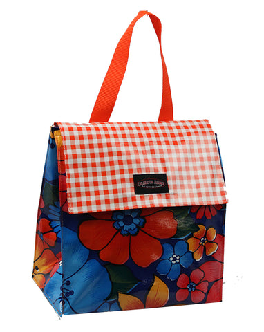 Oilcloth Insulated Lunch Bag - Dark Blue Flora