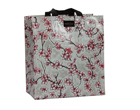 Oilcloth Shopping Bag - Silver Cherry Blossom