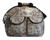 Oilcloth Carryall Bag - Grey Cherry Blossom