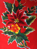 Red Vintage Christmas Oilcloth Fabric