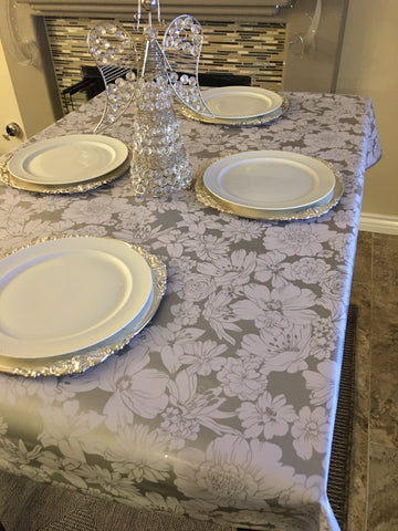 Silver Chantilly Oilcloth Tablecloths