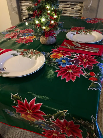Green Vintage Christmas Oilcloth Tablecloths