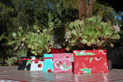 Small Oilcloth Lined Pouch - Cherry Collection