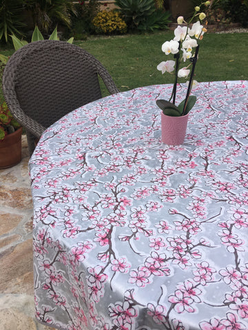 Round Silver Cherry Blossom Oilcloth Tablecloth