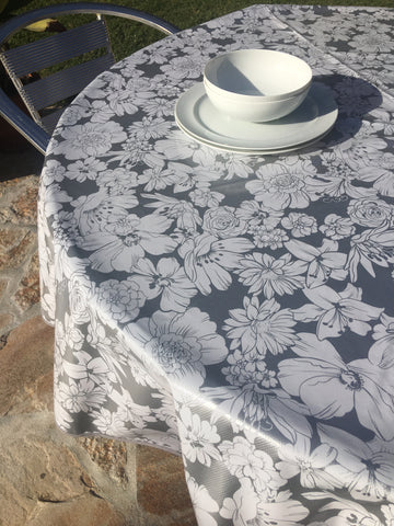 Round Silver Chantilly Oilcloth Tablecloth