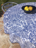 Round Blue Toile Oilcloth Tablecloth