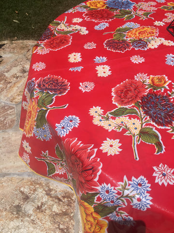 "70"" Round Red Mums Oilcloth Tablecloth with Umbrella Hole"