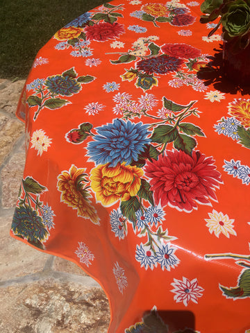"60"" Round Orange Mums Oilcloth Tablecloth with Umbrella Hole"