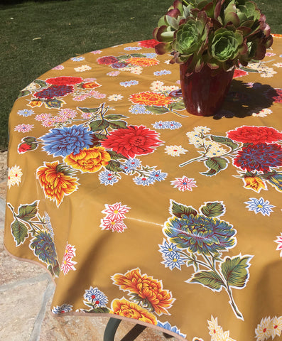 "60"" Round Tan Mums Oilcloth Tablecloth with Umbrella Hole"