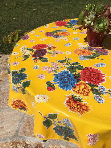 "60"" Round Yellow Mums Oilcloth Tablecloth with Umbrella Hole"