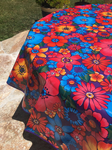 Round Purple Flora Oilcloth Tablecloth