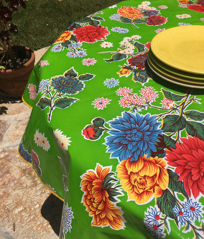 Round Green Mums Oilcloth Tablecloth