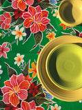 Round Green Hibiscus Oilcloth Tablecloth