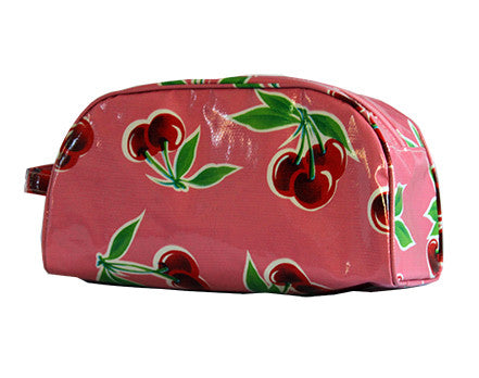 Pink Cherry Oilcloth Cosmetic Bag- Large