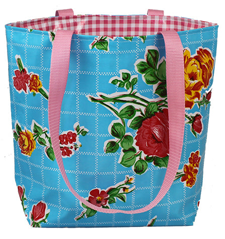 Reversible Oilcloth Totebag - Aqua Roses with Pink Gingham