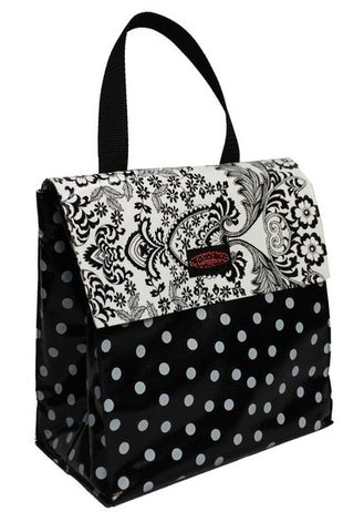 Oilcloth Insulated Lunch Bag - White on Black Polka