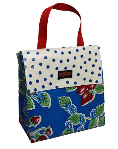 Oilcloth Insulated Lunch Bag - Blue Strawberry