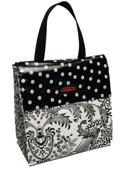 Oilcloth Insulated Lunch Bag Black Toile Oilcloth Alley