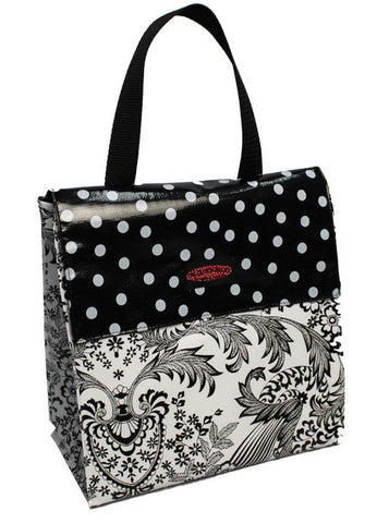 Oilcloth Insulated Lunch Bag - Black Toile