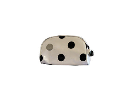 Black and Silver Confetti Oilcloth Cosmetic Bag- Mini
