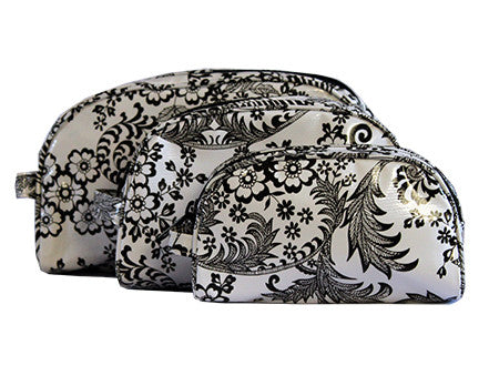 Black and White Toile Oilcloth Cosmetic Bag Collection