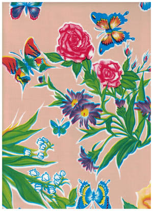Peach Butterfly Oilcloth Fabric