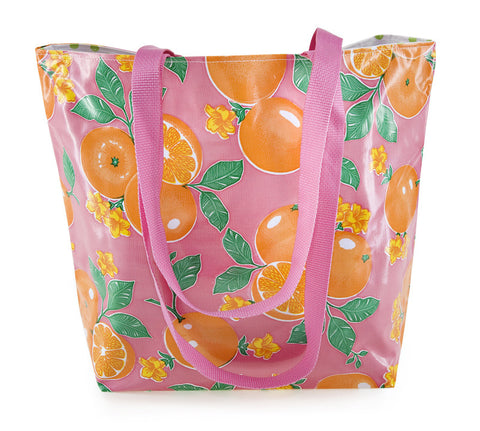 Reversible Oilcloth Totebag - Pink Oranges