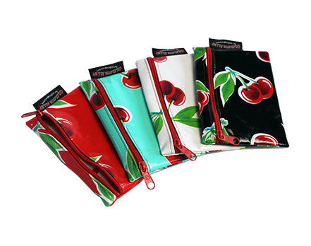 Small Oilcloth Lined Pouch- Cherry Collection