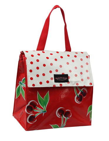 Oilcloth Insulated Lunch Bag - Red Cherry