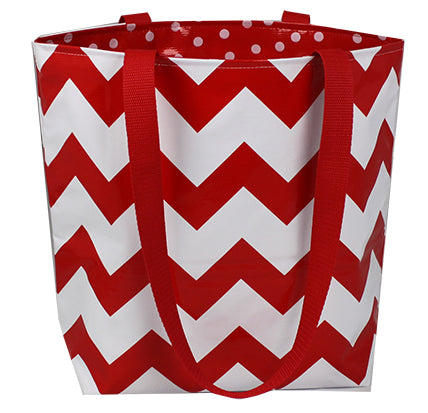 Reversible Oilcloth Totebag - Red Chevron with White on Red Polka