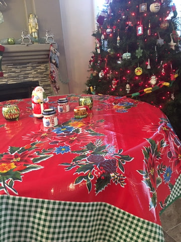 "60"" Round Red Vintage Christmas Oilcloth Tablecloth"
