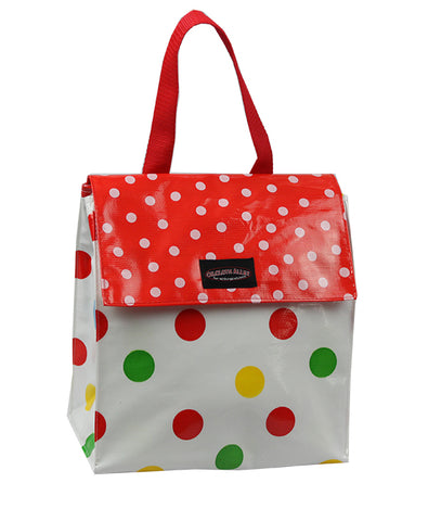 Oilcloth Insulated Lunch Bag - Red and Yellow Confetti