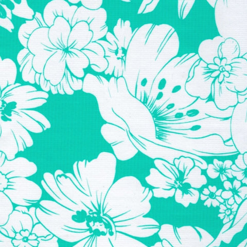 Aqua Chantilly Oilcloth Fabric