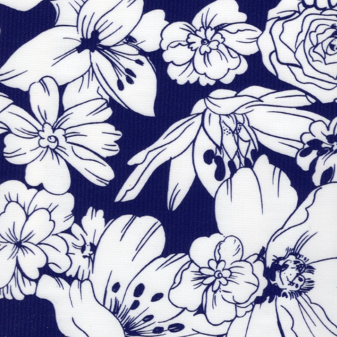 Navy Chantilly Oilcloth Fabric